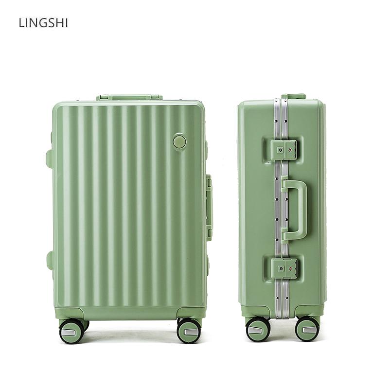 领士行李箱小型静音铝框拉杆箱男女行李箱网红密码登机箱轻便箱子