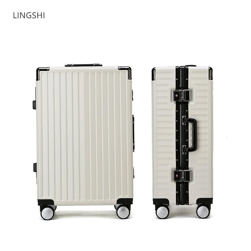 。领士行李箱铝框静音万向轮拉杆箱男女旅行箱皮箱20登机箱子24寸