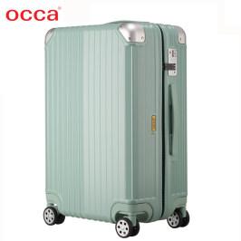OCCA新款浅绿色纯PC拉杆箱万向轮男女时尚拉链箱小清新轻盈行李箱