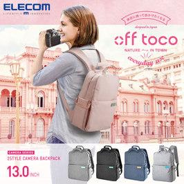 ELECOM日本粉色书包相机包off toco双肩背包旅行专业摄影包男女微单反摄影包佳能