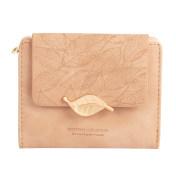 新款小众设计简约复古磨砂叶子女士钱包 时尚零钱包