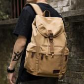 复古男士帆布双肩包高中大学生书包潮流休闲大容量旅行包背包男包