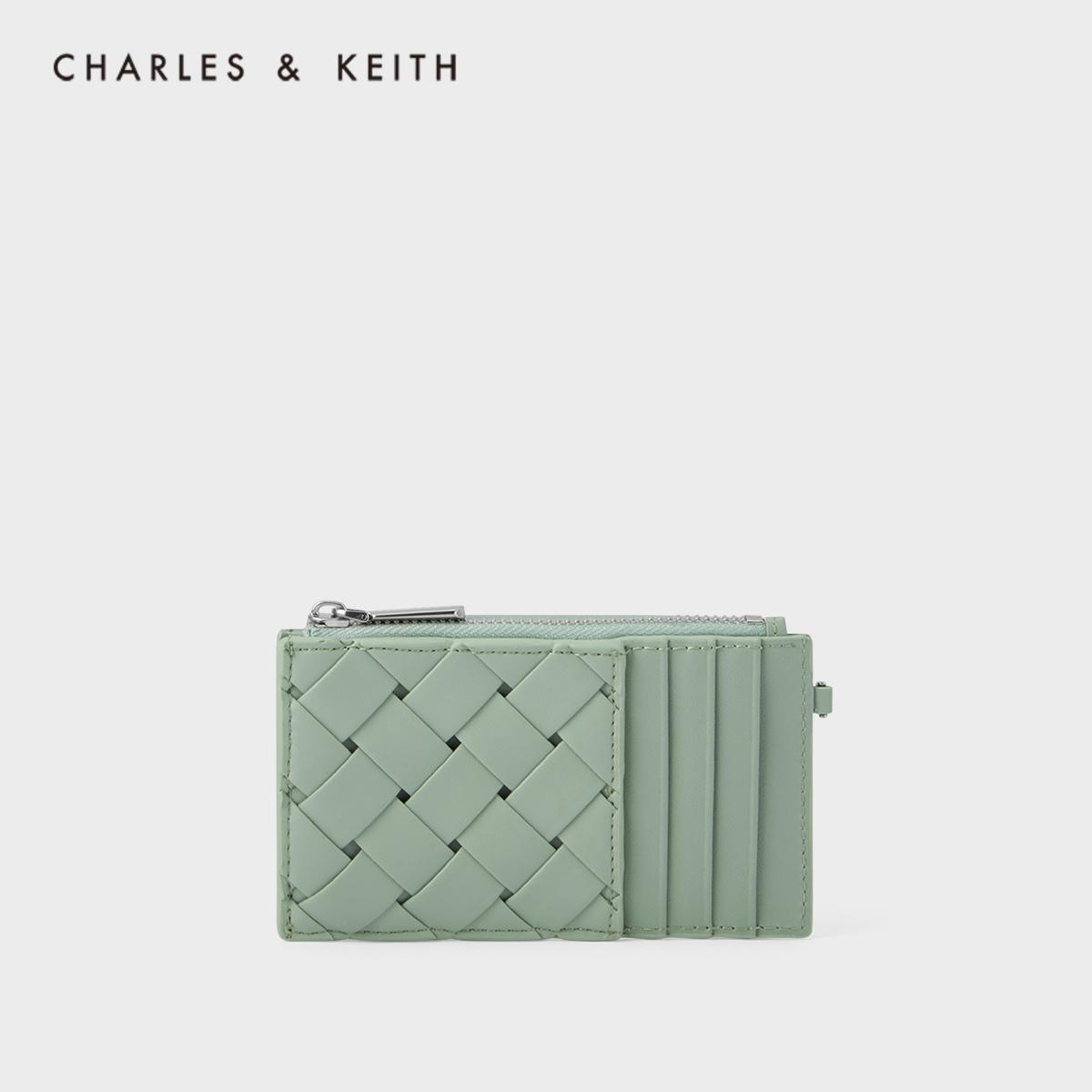 CHARLES&KEITH新品CK6-50840229女士编织设计零钱包卡包