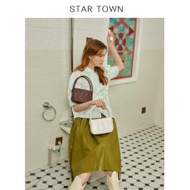 STARTOWN原创手提包包女 时尚复古奶奶包简约斜挎女包