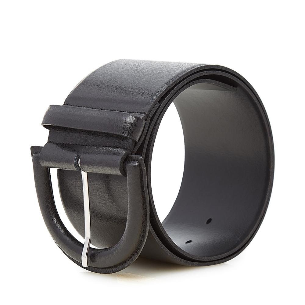 McQ黑色半圆形扣金属针扣女士简约时尚百搭腰带