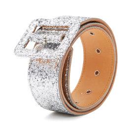 McQ 金色银色方形扣亮片装饰金属针扣女士时尚腰带