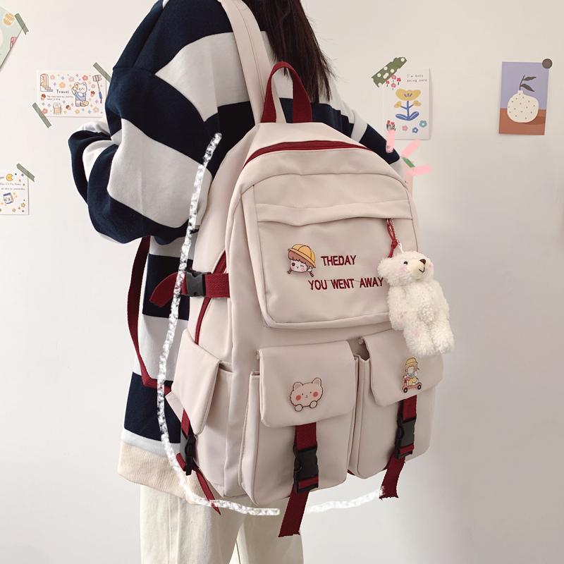 可爱ins风书包女大容量韩版高中学生轻便双肩包